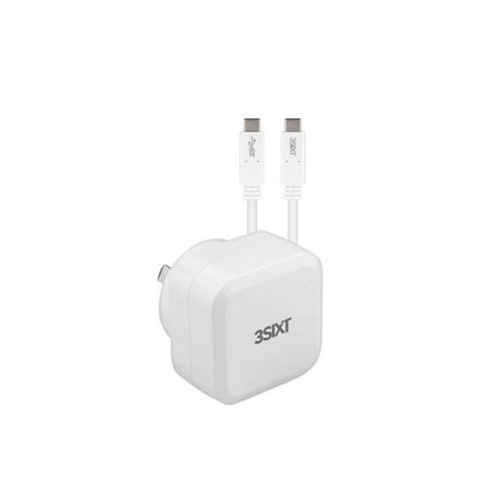 3SIXT Wall Charger AU 30W USB-C PD + USB-C/C Cable - White 3S-1018