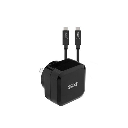3SIXT Wall Charger AU 30W USB-C PD + USB-C/C Cable - Black 3S-1017