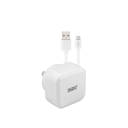 3SIXT Wall Charger AU 5.4A + USB-C Cable 1m - White 3S-1015