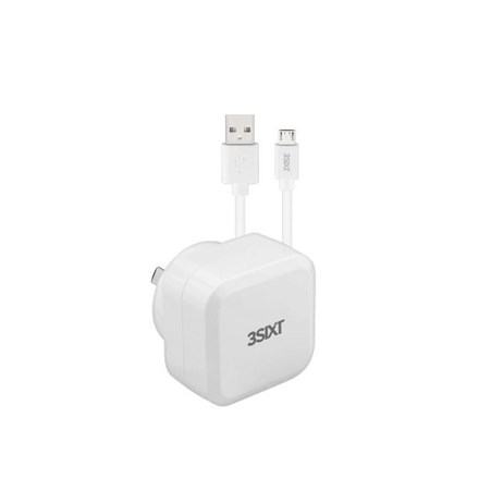 3SIXT Wall Charger AU 5.4A + Micro USB Cable 1m - White 3S-1011